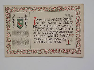 WWII Christmas Postcard 1943 Persia Persian Gulf Service Command Post Card WW2