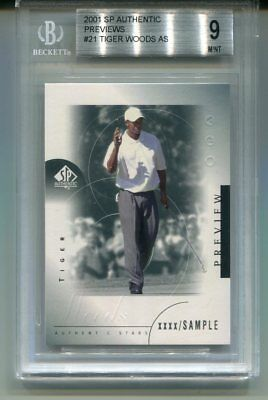 2001 Sp Authentic Previews #21 Tiger Woods Rc Rookie Sample Bgs 9