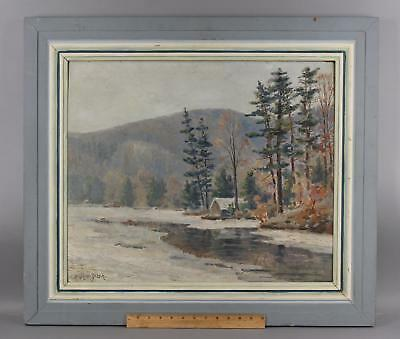 Antique HENRY RIDER American New England Winter Mountain Landscape Oil Painting