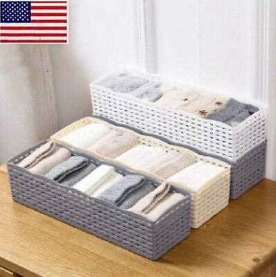US 5 Cells Plastic Storage Box Bra Socks Tie Drawer Cosmetic Divider Organizer