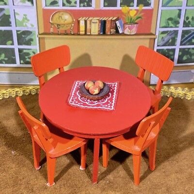 Lundby 1970's TABLE & CHAIRS SET Vintage Dollhouse Furniture 1:16