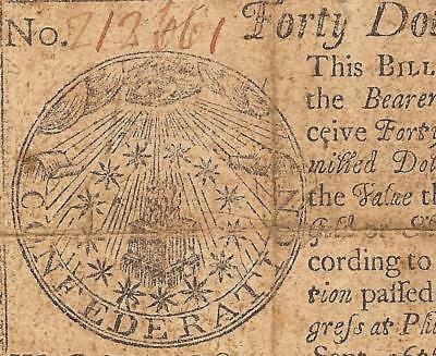1778 $40 Dollar Bill All Seeing Eye Note Continental Currency Paper Money Cc-84