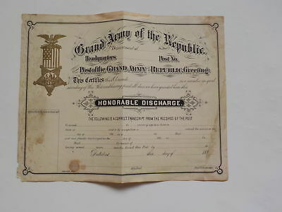 Civil War Document Grand Army Of The Republic Honorable Discharge Antique 1 Old