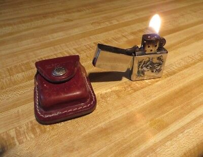 USA - A 02 - Zippo WOLF Lighter and Brown Leather Belt-Clip / Snap-Button Case