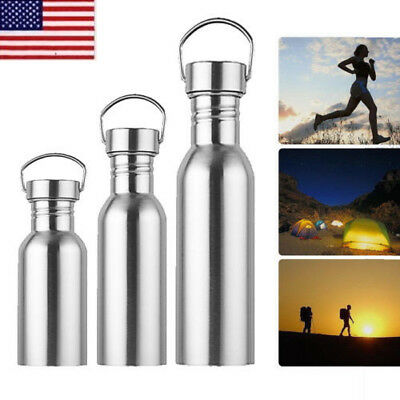 US Stainless Steel Single Layer Vacuum Outdoor Water Bottle Mug Cup Kettles OCCA
