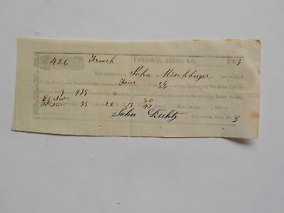Antique Document 1863 Civil War Era French Adams County Indiana Road Tax Lands N