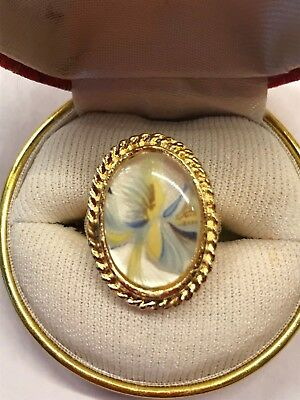 Vintage Floral White Art Blue Yellow Cabochon Gold Tone Ring