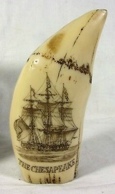 Vintage Scrimshaw Whales Tooth Sculpture Replica  CHESAPEAKE Ship James Lawrence
