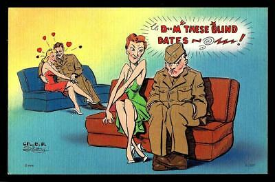 """1¢ Wonder's ~ Mwm Artist Signed Military Pc W/ """"d-M These Blind Dates..."""" ~ R837"""