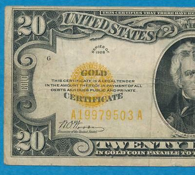 $20. 1928 Gold Seal Gold Certificate Average Circulated