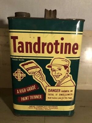 Vintage Tandrotine Paint Thinner Gallon Can Old Advertising