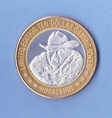 Benny Bust Ten Dollar Gaming Token Binion's Horseshoe .999 Pure Silver Mint