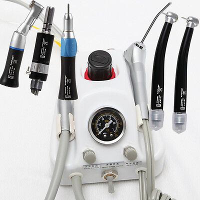 Dental Air Turbine Unit Work w/ Compressor+High Low Speed Handpiece 4Hole Black