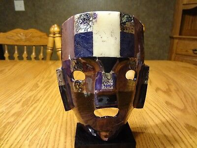 Rare Purple/mother Of Pearl Mexican Mayan Handmade Aztec Stone Mosaic Mask