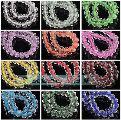 50pcs Core ColorsRondelle Faceted Crystal Glass Loose Spacer Beads Lot 6mm 8mm