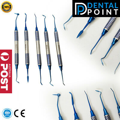 Dental Composite Filling Instrument Set of 5 Blue Titanium Coated NON STICK