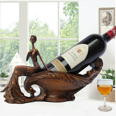 Wood Color Red Wine Rack Bottle Holder Resin Vintage Beatuful Woman Cabinet Deco