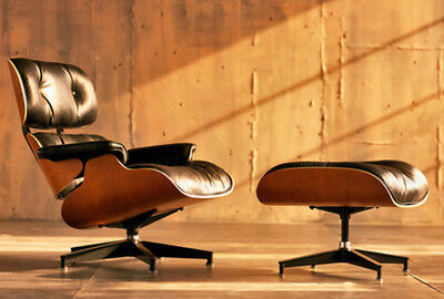 Eames Lounge Chair 100% Top Grain Italian Black Leather  Rosewood - Genuine HOT
