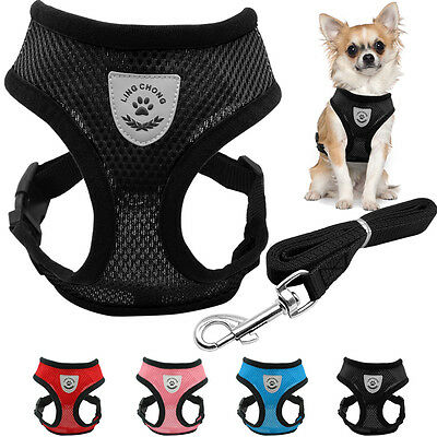 Breathable Mesh Small Dog Pet Harness and Leash Puppy Vest Chest Strap Outdoor