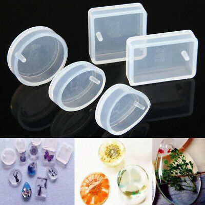 5Pcs Silicone Mould Mold for DIY Resin Round Necklace jewelry Pendant Making UK