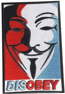 Disobey Iron On Patch Embroidered Anonymous Guido Guy Fawkes V For Vendetta Appl