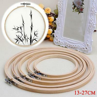 Wooden Cross Stitch Embroidery Hoops Round Ring Sewing Machine Bamboo AE