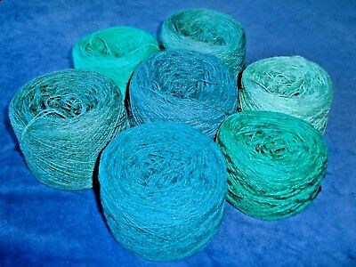 925gms SHETLAND WOOL - 2/9s - 4ply - MIXED TURQUOISE KNITTING YARN - new