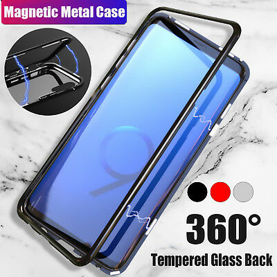 UK Magnetic Adsorption Metal Tempered Glass Case for Samsung Galaxy S9 S8 Plus