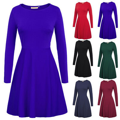 Women Plain Long Sleeve Stretchy Party Gowns A Line Skater Girls Swing Dress New