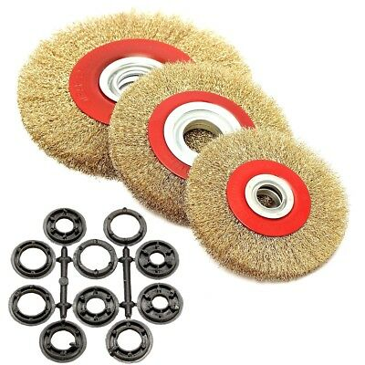 5 6 8'' Polishing Wire Brush Wheel for Bench Grinder With Reducers Adaptor Rings