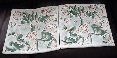 Antique/Vintage Hand Embroidered Needlepoint Cushion Covers William Morris Style