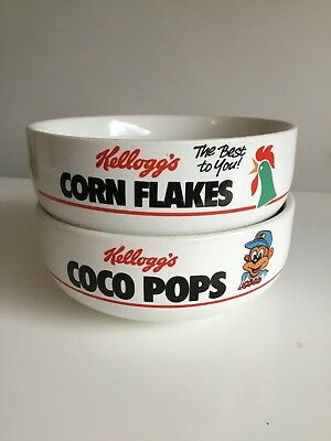 Vintage 1980s Kelloggs Coco Pops Corn Flake Ceramic Cereal Bowl Advertising 1987
