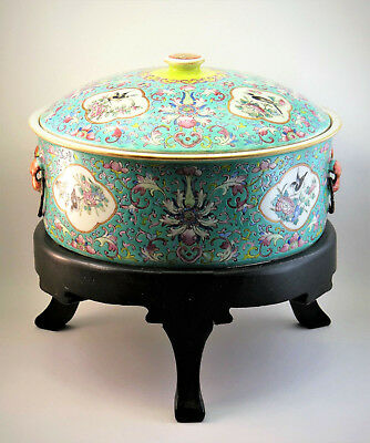 MONUMENTAL ANTIQUE 19thC CHINESE FAMILLE ROSE TURQUOISE PORCELAIN BOWL & COVER