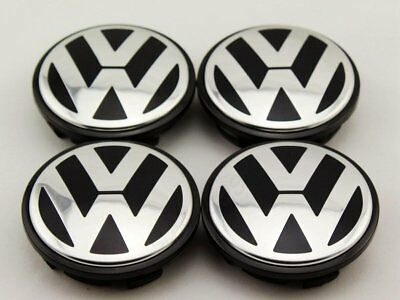 VW OEM 3B7601171 Wheel Centre Caps 65mm Black Fits Passat CC Models