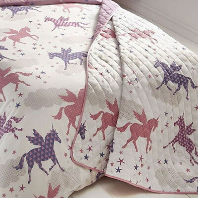 Divine Unicorns, Pink and Purple Stars Quilted Throw