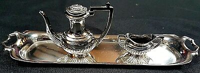 Lovely Solid Silver Miniature Coffee Pot & Sugar Bowl on Tray, 1974, London