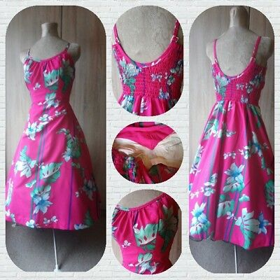 Lovely 1960s 1970s retro vintage hot pink floral handmade party dress 8 10