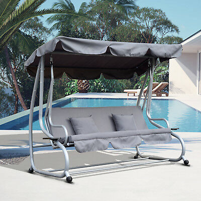 Outsunny Outdoor 3 Seaters Swing Chair Adjustable Backrest Garden Hammock Bed