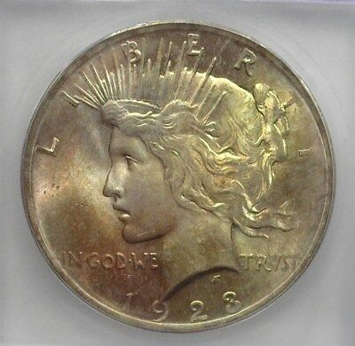 1923 Peace Silver Dollar  Icg Ms65 Toned! Valued At $115!