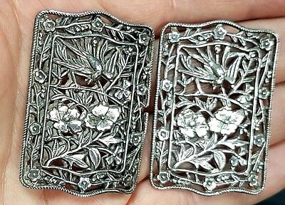 Lovely Antique Chinese Late Qing Dynasty Silver Pierced Belt Buckle c 1890
