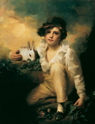 CHOP651 100% hand painted lovely boy with Rabbit animal oil painting art canvas
