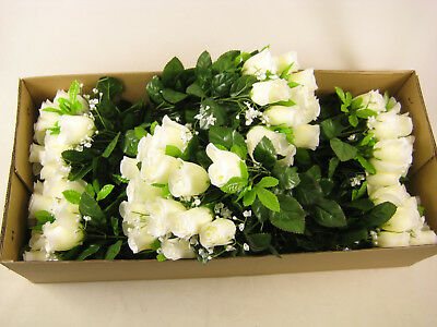 Wholesale Job Lot 6x Artificial Flowers 18 Heads Cream Rose Bud Gypsophila Bush
