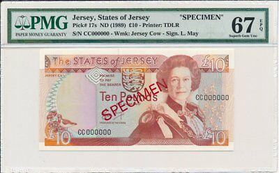 The States of Jesery Jersey  10 Pounds ND(1989) Specimen PMG  67EPQ