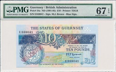British Administration Guernsey  10 Pounds ND(1991-95) Rare PMG  67EPQ