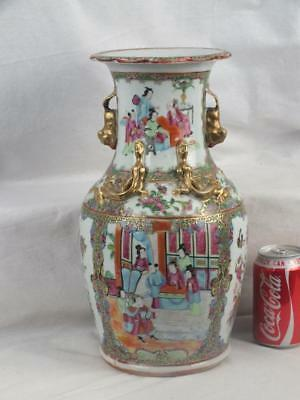 "14"" 19Th C Chinese Porcelain Canton Famille Rose Figures Vase - 1"
