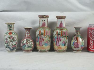 Five 19Th C Chinese Porcelain Canton Famille Rose Small Vases