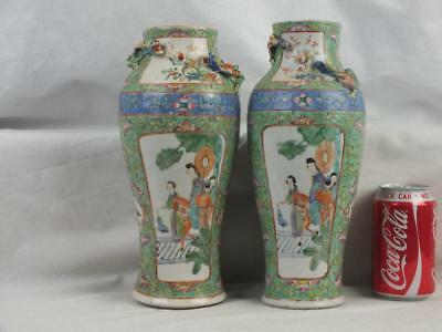 Pair 19Th C Chinese Porcelain Lime Green Famille Rose Figures Horse Birds Vases