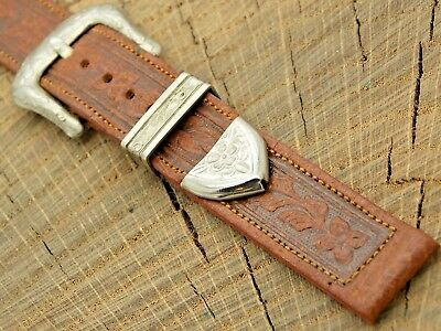 NOS Unused Vintage Western Watch Band w Silver Tone Buckle American Strap 16mm