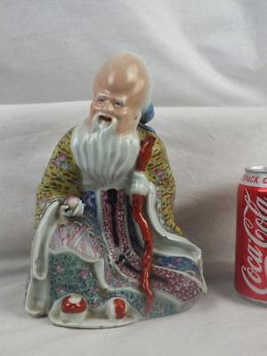 Antique Chinese Porcelain Famille Rose Luohan Peach Figure