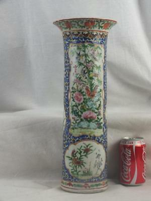 "Large 15"" 19Th C Chinese Canton Famille Rose Blue Cockerels Birds Sleeve Vase"